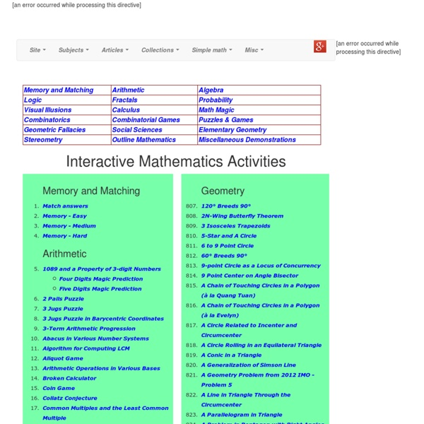 Interactive Mathematics Activities - StumbleUpon