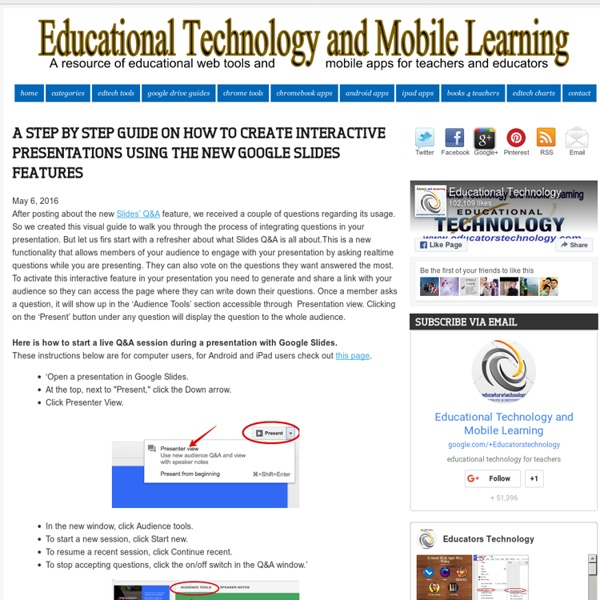 Educational Technology and Mobile Learning: A Step by Step Guide on How to Create Interactive Presentations Using The New Google Slides Features