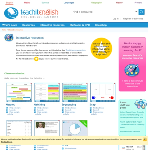 Interactive resources for screen and whiteboard