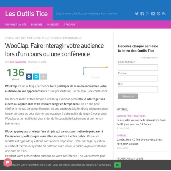 WooClap. Faire interagir votre audience lors d'un cours ou une conférence