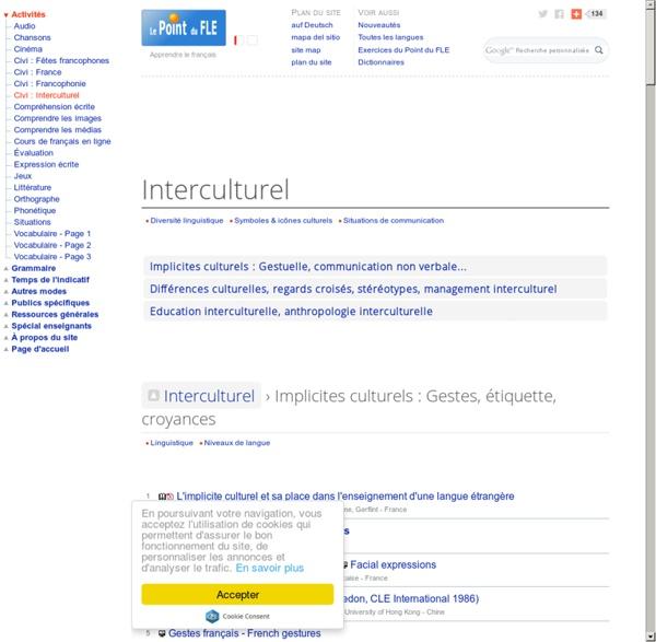 Implicites culturels - Gestes français - Stéréotypes - Didactique de l'interculturel