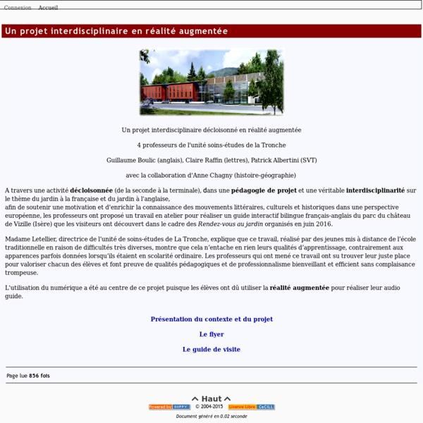 Le Site Interlangues de l'Académie de Grenoble - Un projet interdisciplinaire en réalité augmentée