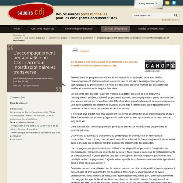 L'accompagnement personnalisé au CDI: carrefour interdisciplinaire et transversal