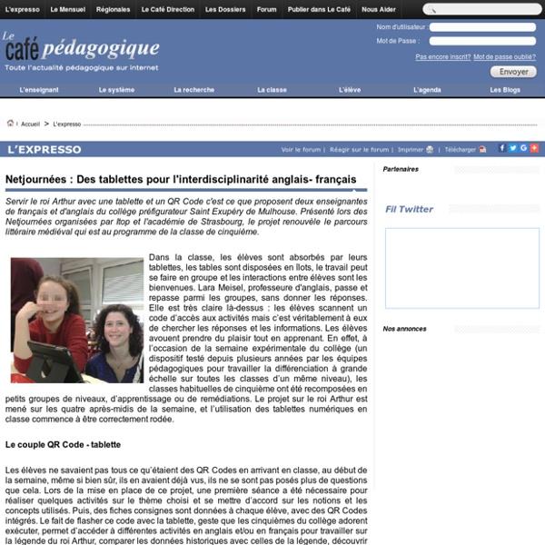 Netjournées : Des tablettes pour l'interdisciplinarité anglais- français
