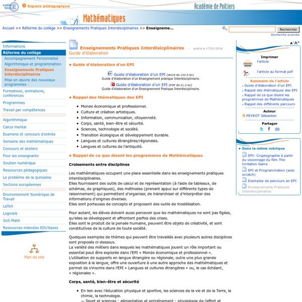 Enseignements Pratiques Interdisicplinaires- Mathématiques