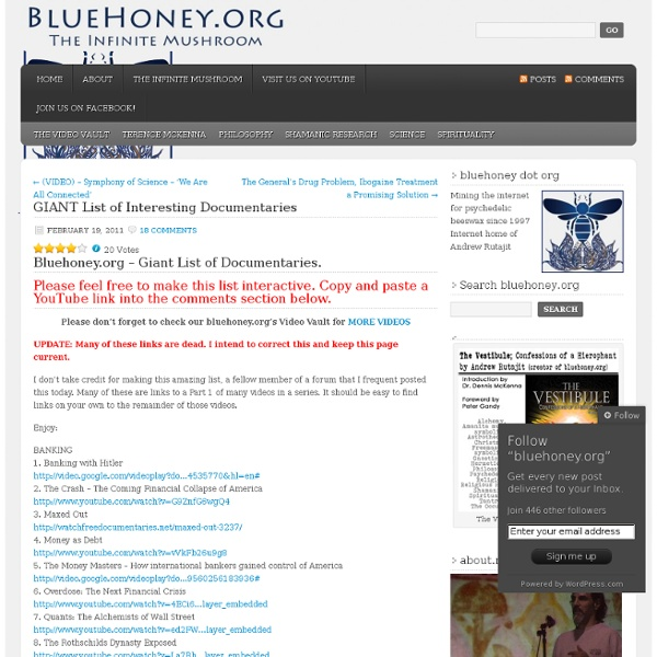 GIANT List of Interesting Documentaries « bluehoney.org