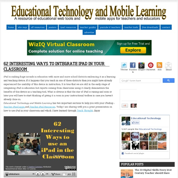 Educational Technology and Mobile Learning: 62 Interesting Ways to Integrate ...
