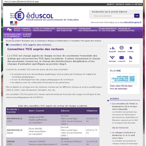 Liste des conseillers TICE auprès des recteurs - Conseillers TICE auprès des recteurs