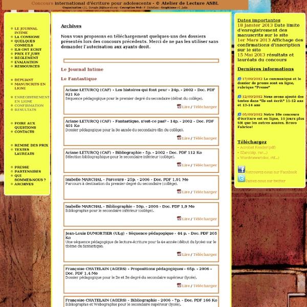 Atelier de Lecture Asbl - Sur le quai, l'écriture théâtrale : Concours International d'Ecriture pour Adolescents