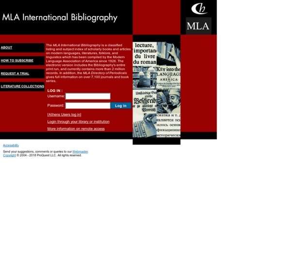 MLA International Bibliography - Marketing Site