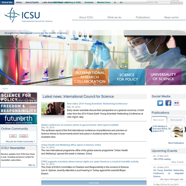 Latest news: International Council for Science — ICSU