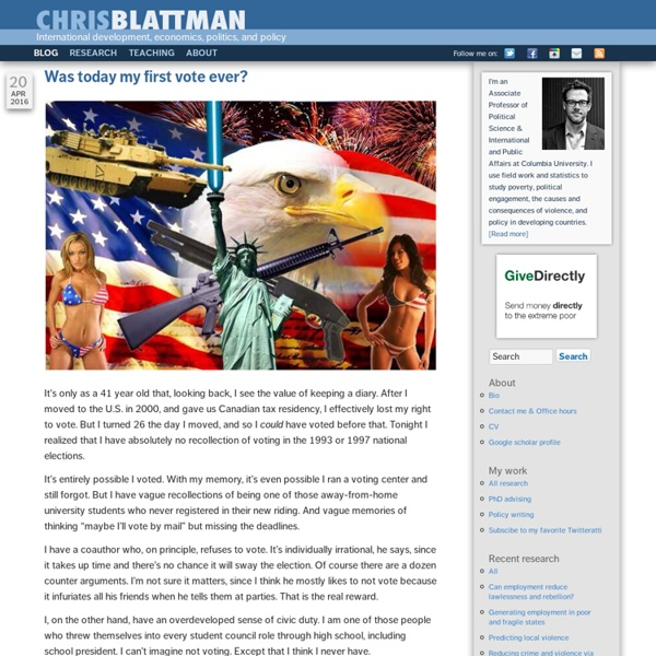 Chris Blattman - Research, international development, foreign policy, and violent conflict