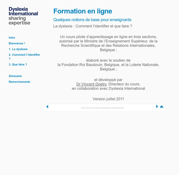 Dyslexia International - Quelques notions de base pour enseignants