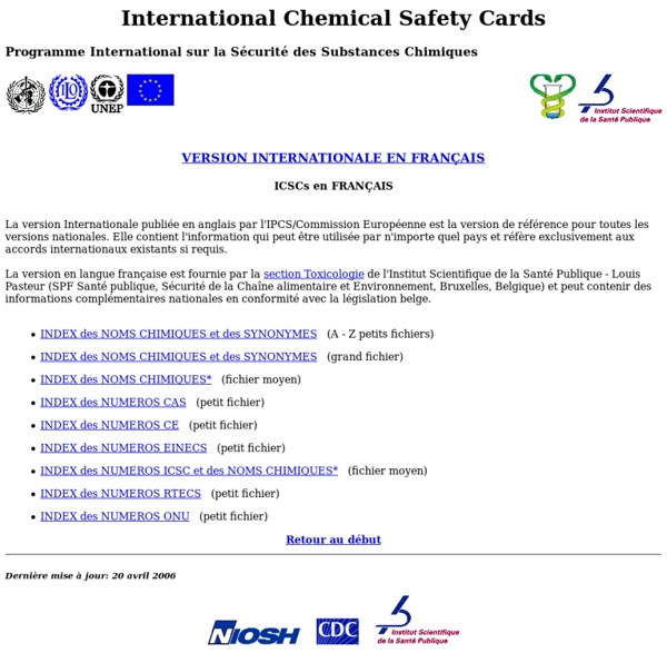 NIOSH French/WHO/International Program on Chemical Safety/International Chemical Safety Cards/International Version/Introduction