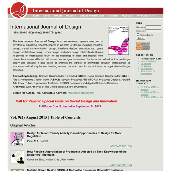 International Journal of Design