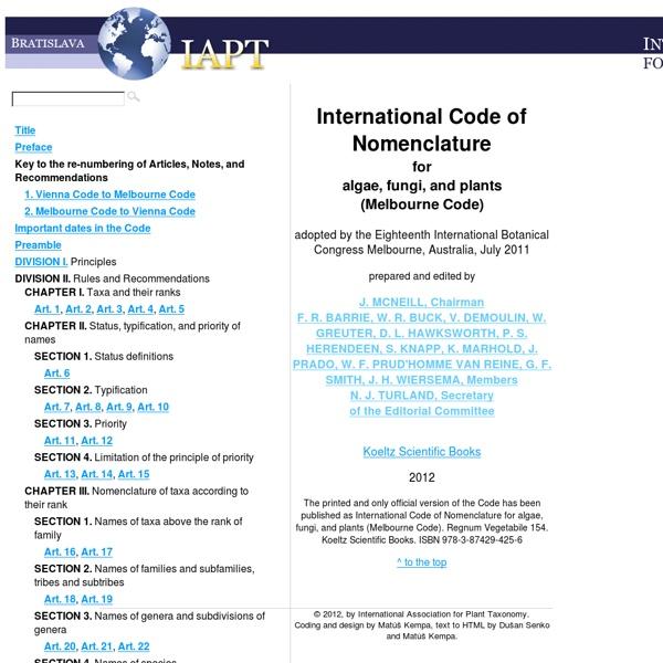 International Code of Nomenclature for algae, fungi, and plants