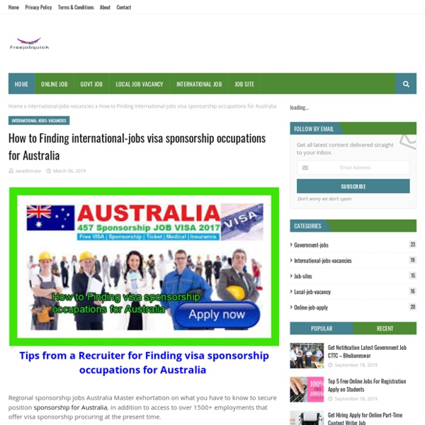 How to Finding international-jobs visa sponsorship occupations for Australia