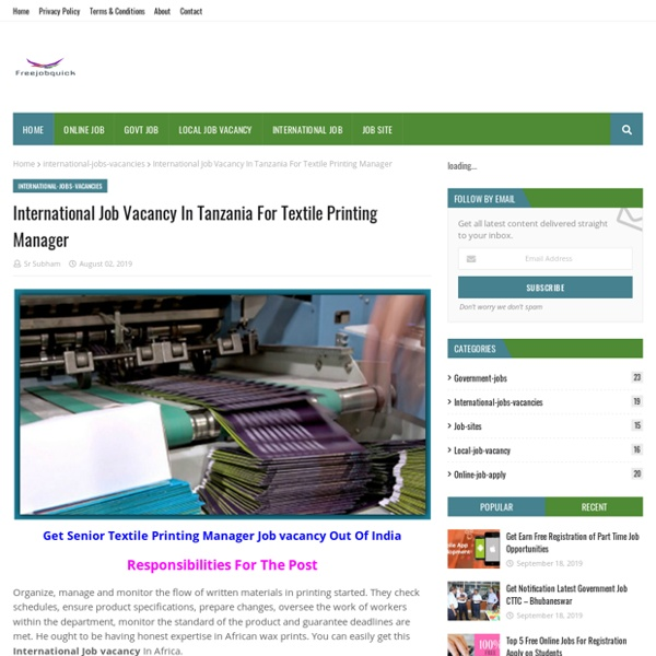 International Job Vacancy In Tanzania For Textile Printing Manager