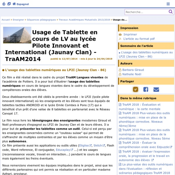 Usage de Tablette en cours de langues vivantes au lycée Pilote Innovant et International (Jaunay Clan)- Espagnol