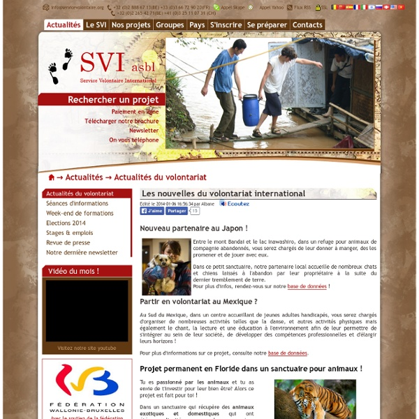 Service Volontaire International - Partir en volontariat international avec le SVI - Volontariat humanitaire accessible a tous