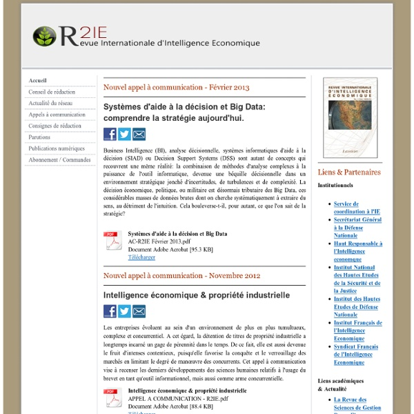 Revue Internationale d'Intelligence Economique - R2IE