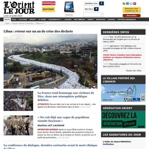 L'Orient-Le Jour - Actualité Liban - Actualité locale et internationale - Information économique et culturelle - Journal quotidien libanais francophone - lorientlejour.com