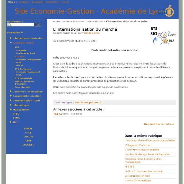 EM 2.2 L'internationalisation du marché