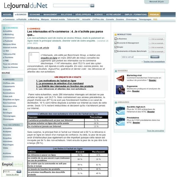 Les internautes et l'e-commerce : 4. Je n'achète pas parce que...