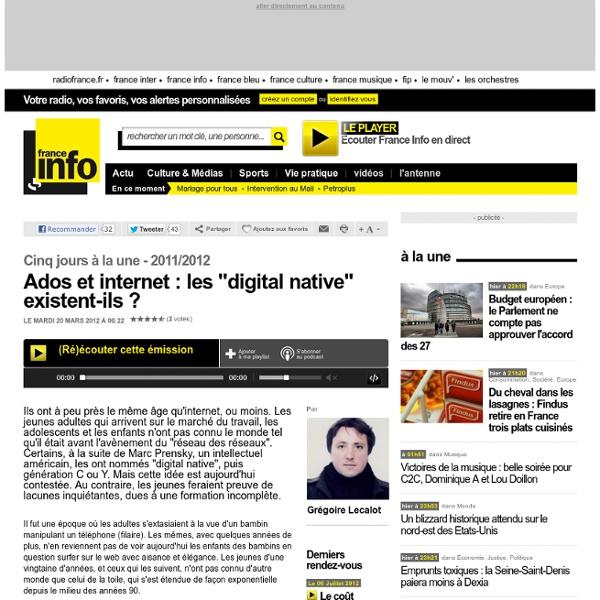 """Ados et internet : les """"digital native"""" existent-ils ? - Cinq jours à la une - Société"""