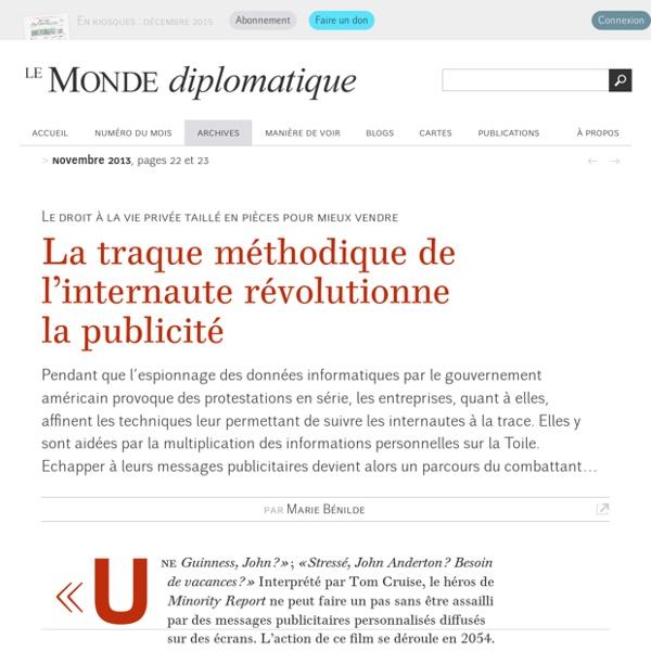 Traque sur Internet, par Marie Bénilde (Le Monde diplomatique, novembre 2013)