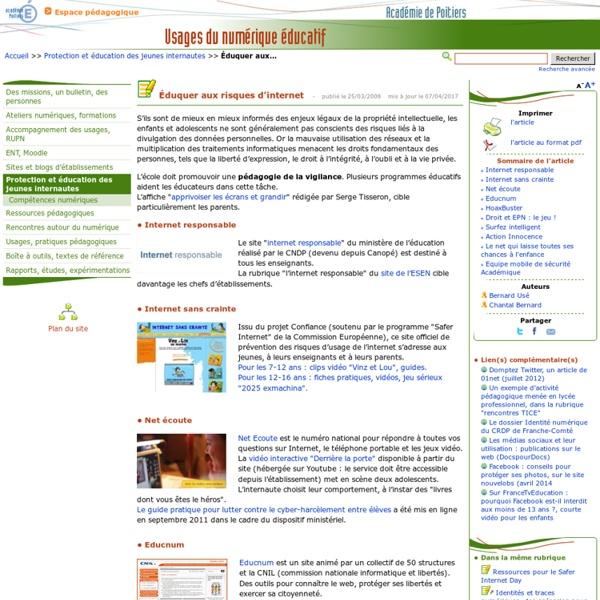 Éduquer aux risques d'internet- Usages du numérique éducatif