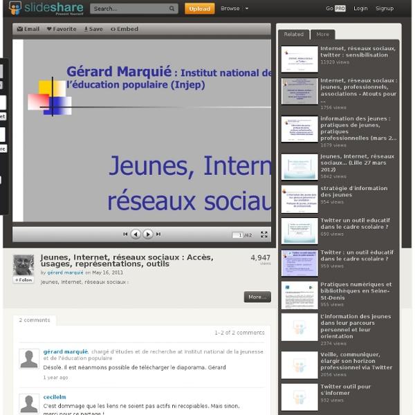 Jeunes, Internet, réseaux sociaux : Accès, usages, représentations,...