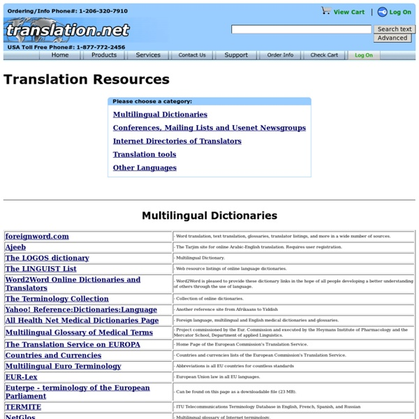 Internet Resources for Translators
