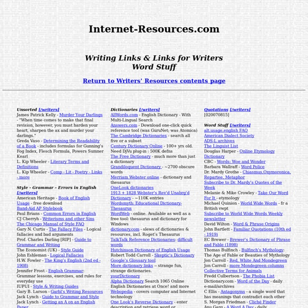 Internet Resources - Writers Resources - Writing Links & Writers