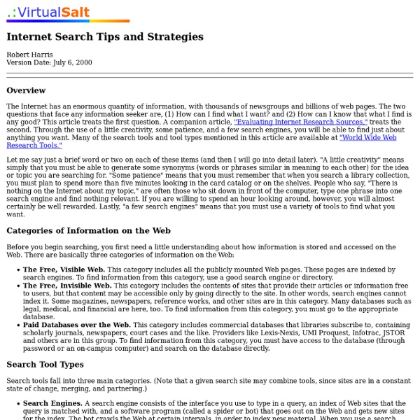 Internet Search Tips and Strategies