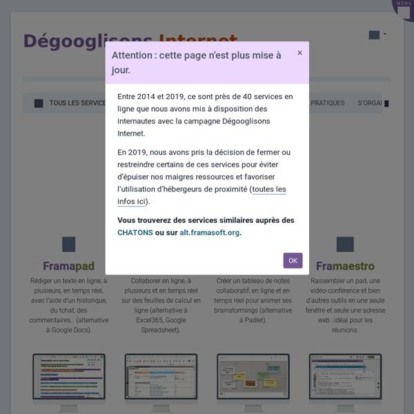 Dégooglisation > liste des services Framasoft