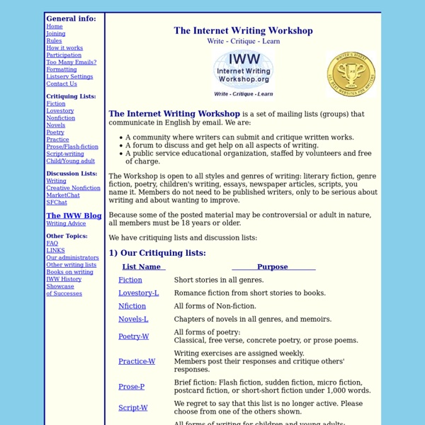 The Internet Writing Workshop: Write - Critique - Learn