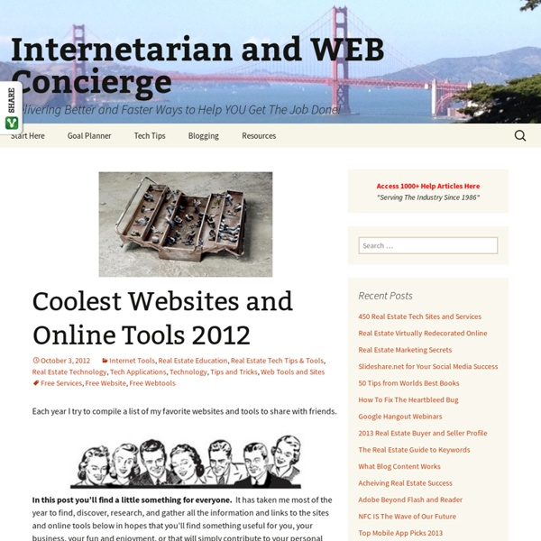 Coolest Websites and Online Tools 2012
