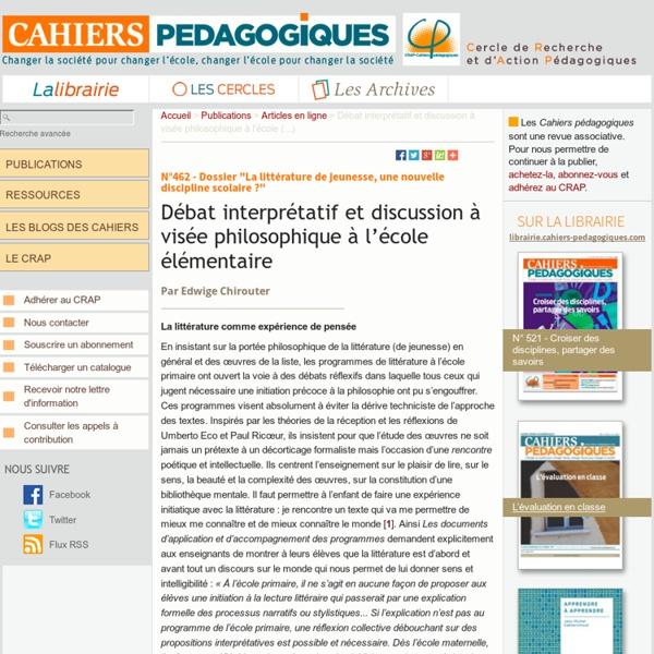 Débat interprétatif et discussion à visée philosophique à l'école (...)