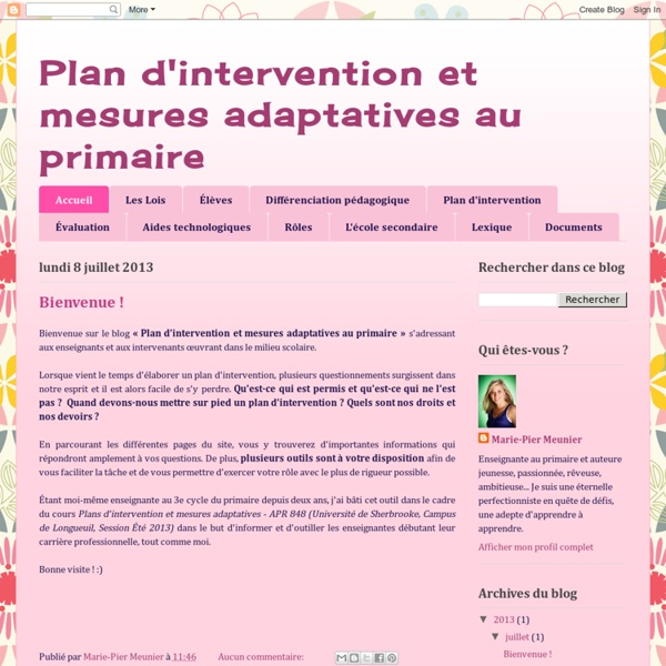 Plan d'intervention et mesures adaptatives au primaire