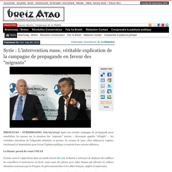 "Syrie : L'intervention russe, véritable explication de la campagne de propagande en faveur des ""migrants"""