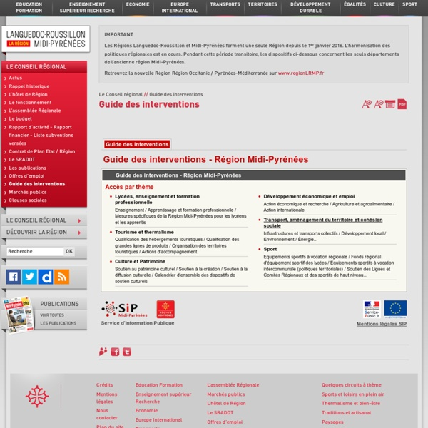 Région Midi-Pyrénées : Guide des interventions - Développement économique et emploi