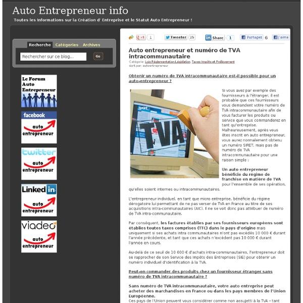 Auto entrepreneur et numéro de TVA intracommunautaire