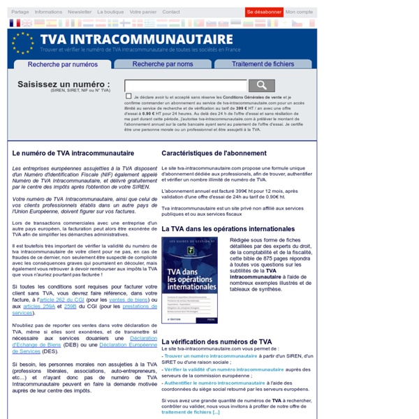 Numéro de TVA Intracommunautaire : recherche et validation