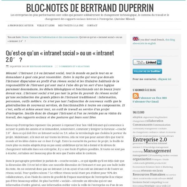 """Qu'est-ce qu'un """"intranet social"""" ou un """"intranet 2.0″"""