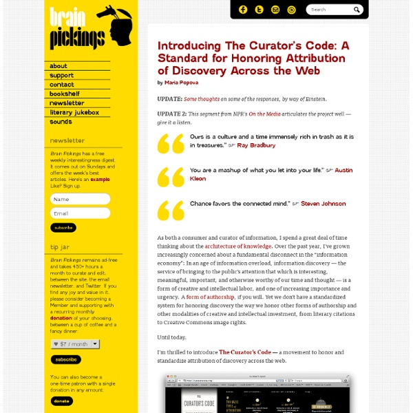 Introducing The Curator's Code: A Standard for Honoring Attribution of Discovery Across the Web