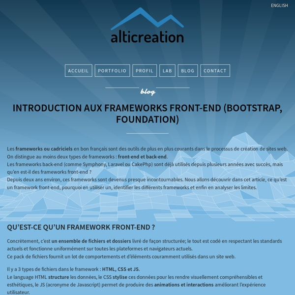 Introduction aux frameworks front-end (Bootstrap, Foundation) - alticreation