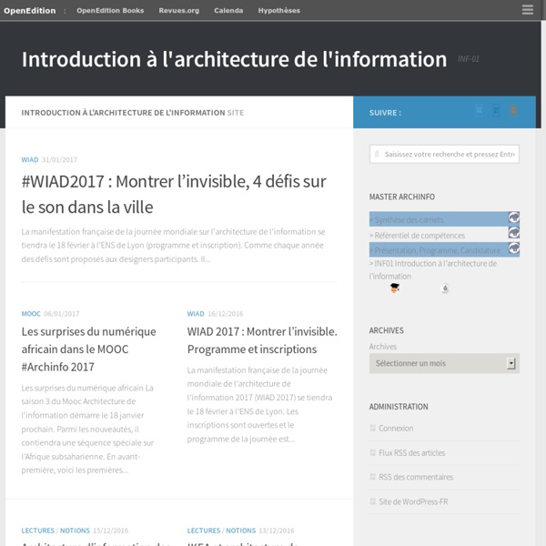 Introduction à l'architecture de l'information