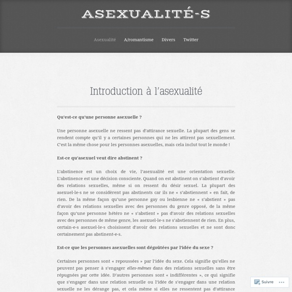 Introduction à l'asexualité
