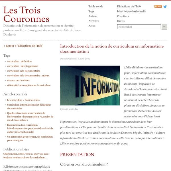 Introduction de la notion de curriculum en information-documentation
